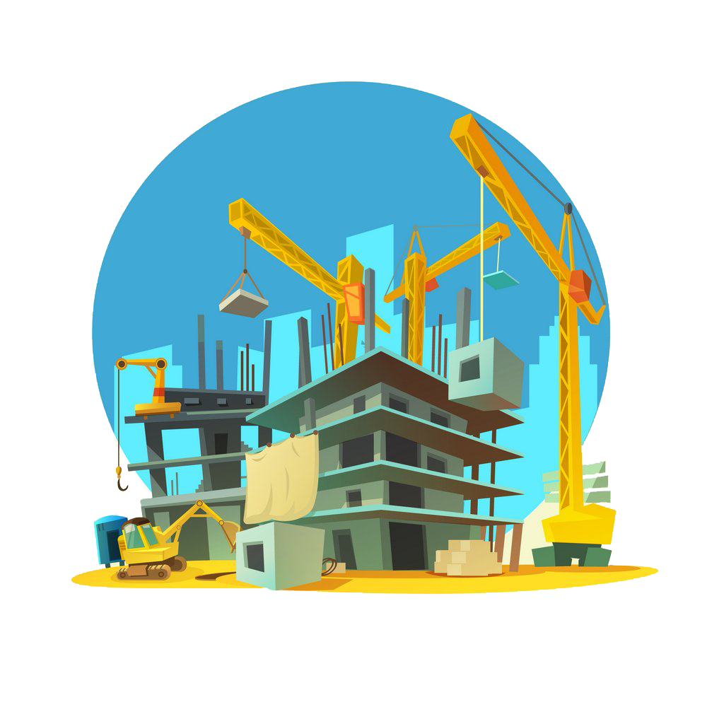 Engineering clipart civil engineering building. Architectural cartoon crane construction