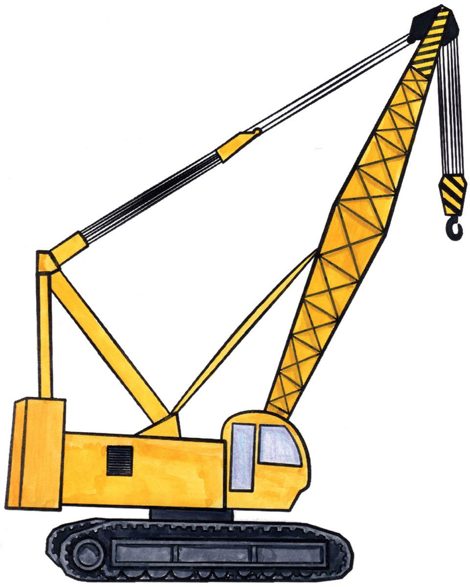 How to draw a. Crane clipart construction vehicle