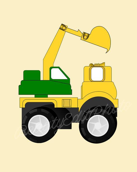 Dump truck wall art. Crane clipart construction vehicle