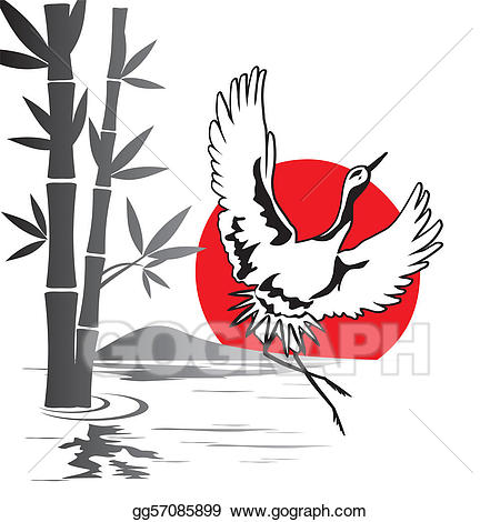 Crane clipart crane japanese. Eps vector stock illustration