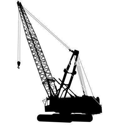 Construction vector pile driving. Crane clipart crawler crane