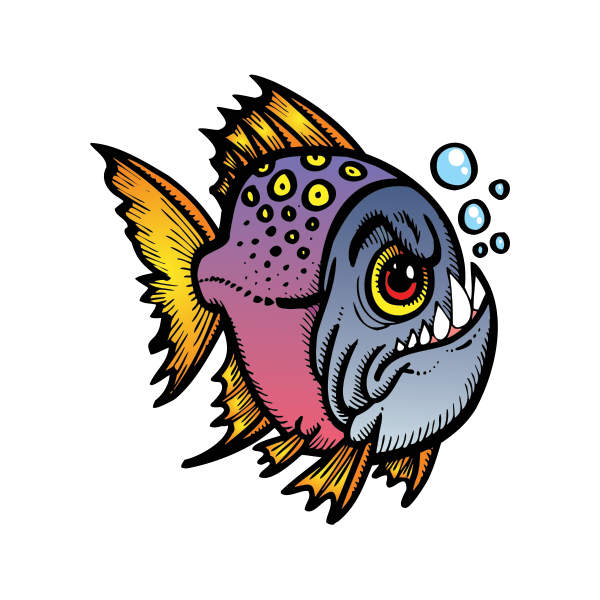 Xray clipart fish. Printed vinyl angry piranha