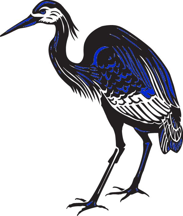 Great blue bird clip. Crane clipart heron