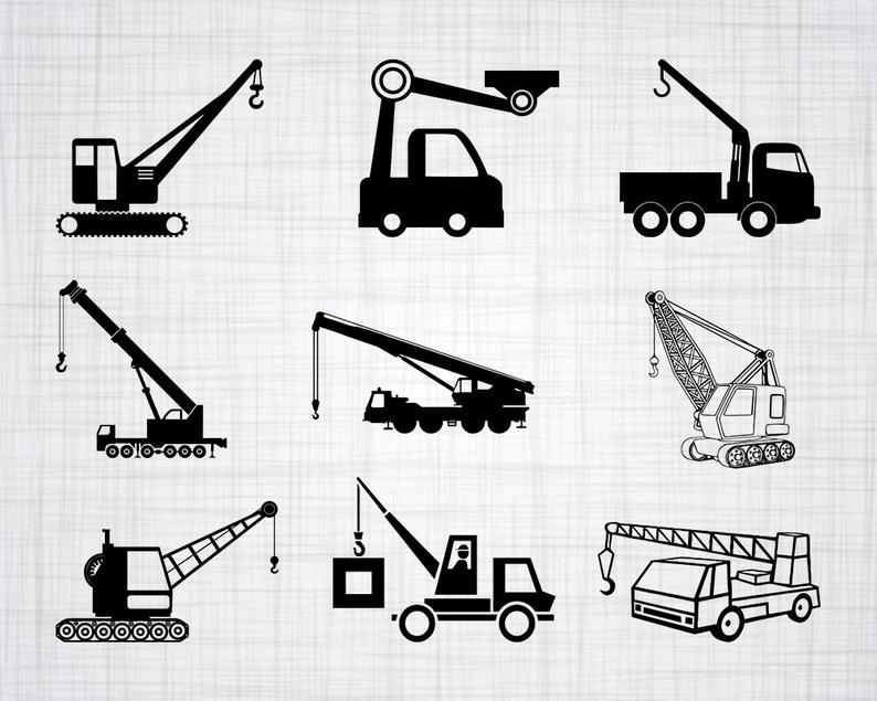 Excavator clipart crane truck. Svg bundle cut files