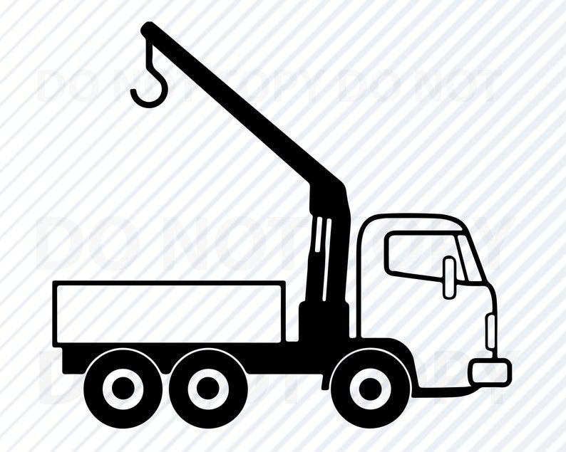 Truck svg files vector. Crane clipart work vehicle