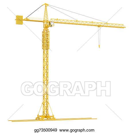 Crane clipart yellow. Stock illustration tower