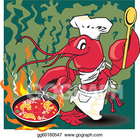 Vector illustration chef stock. Crawfish clipart cooking