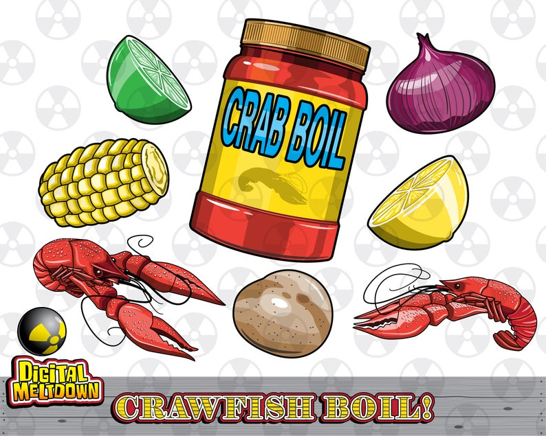 Crawfish clipart crawfish louisiana. Vector boil ingredients instant