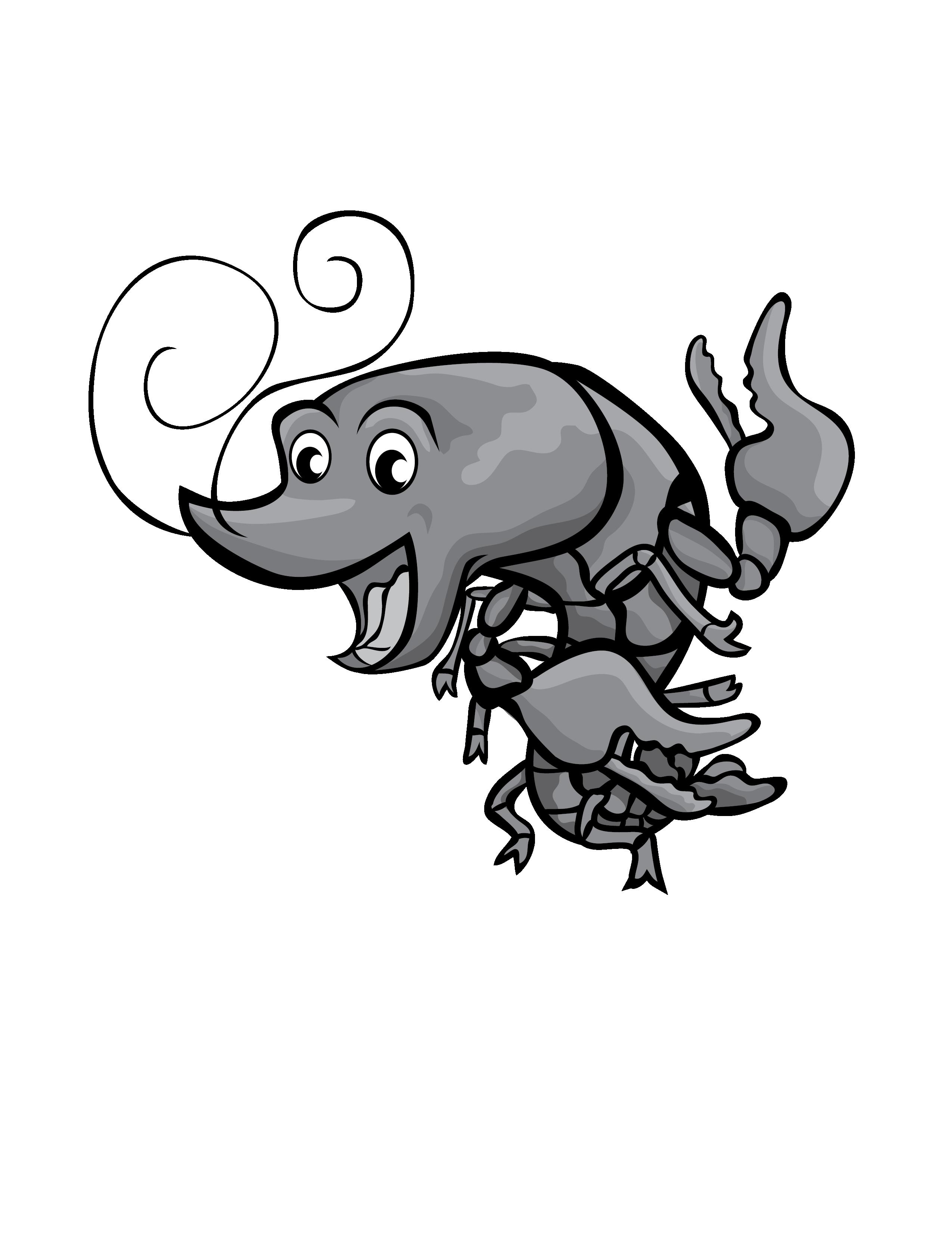 Grey clip art new. Crawfish clipart happy