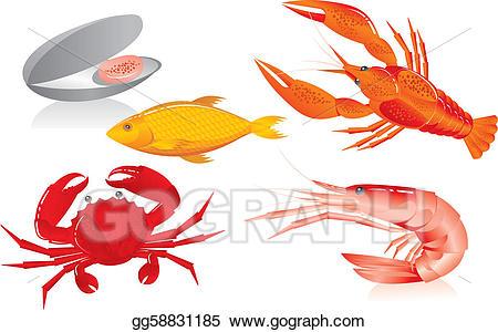 Crawfish clipart seafood. Vector illustration oyster shrimp