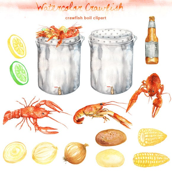 Watercolor boil digital printable. Crawfish clipart seafood