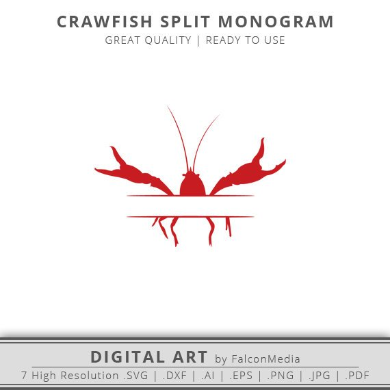 Crawfish clipart svg. Red split monogram