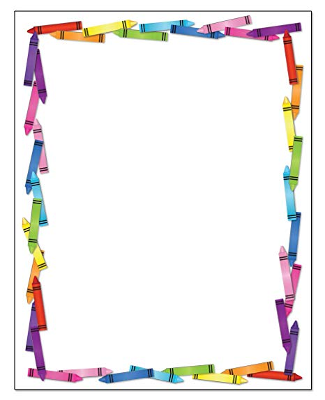 Colorful border stationery x. Crayons clipart crayon paper
