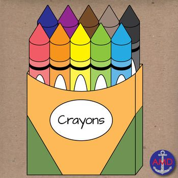 Back to school clip. Crayons clipart box 10