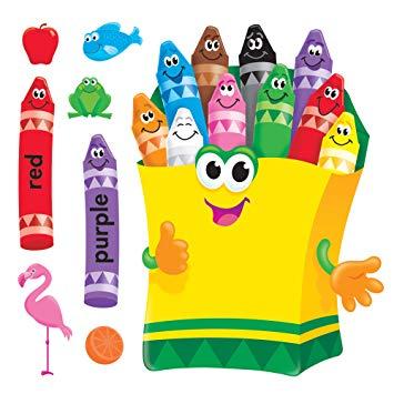 Crayons clipart classroom. Trend enterprises colorful bulletin