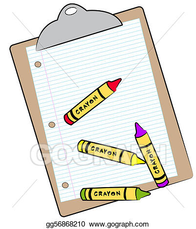 Crayons clipart crayon paper. Stock illustration clipboard with