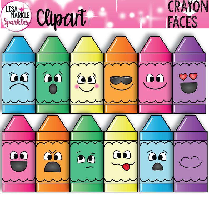 Crayons with faces emoji. Crayon clipart cryons