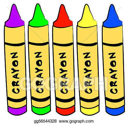 Different color crayons standing. Crayon clipart five