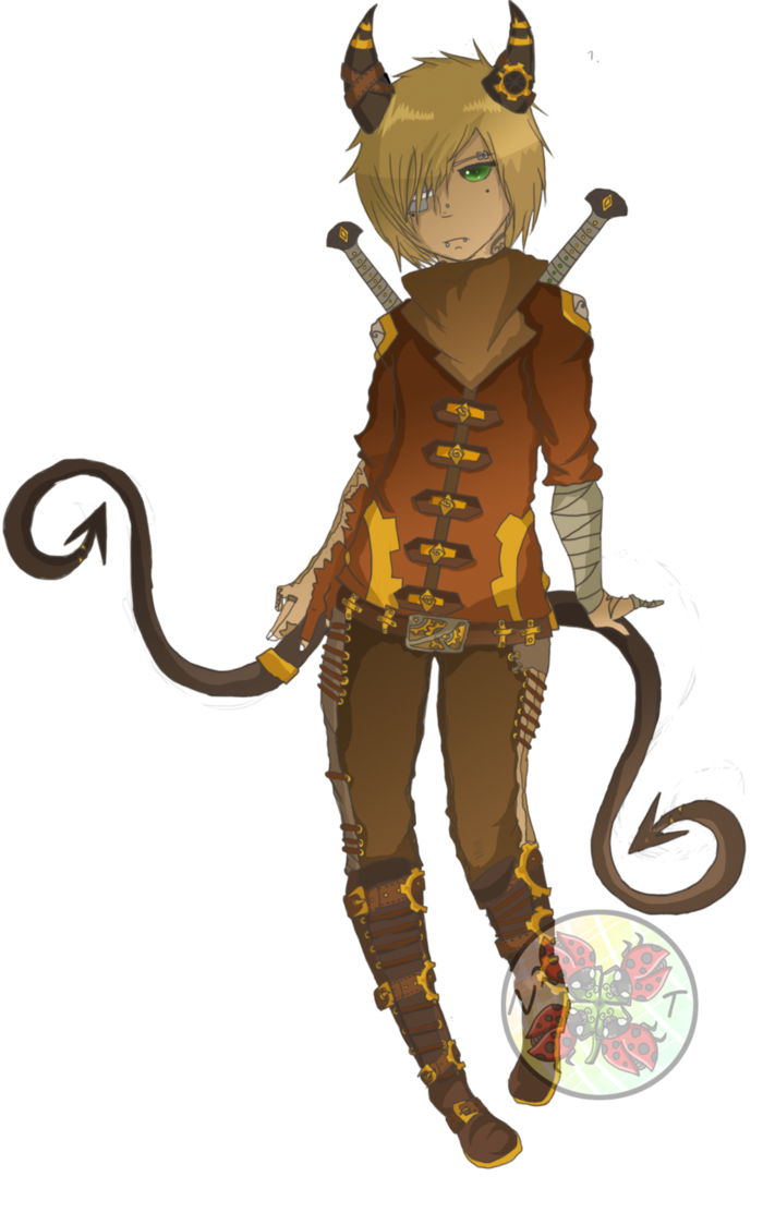 Steampunk demon adopt closed. Crayons clipart character