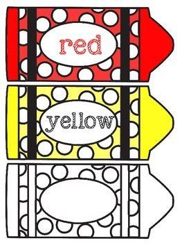 Label clipart crayon. Color labels freebie classroom