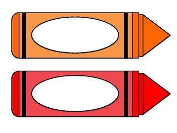 Labels a kindergarten preschool. Crayon clipart name tag