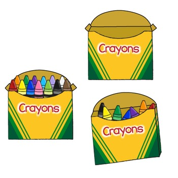 Crayon and boxes . Crayons clipart open box