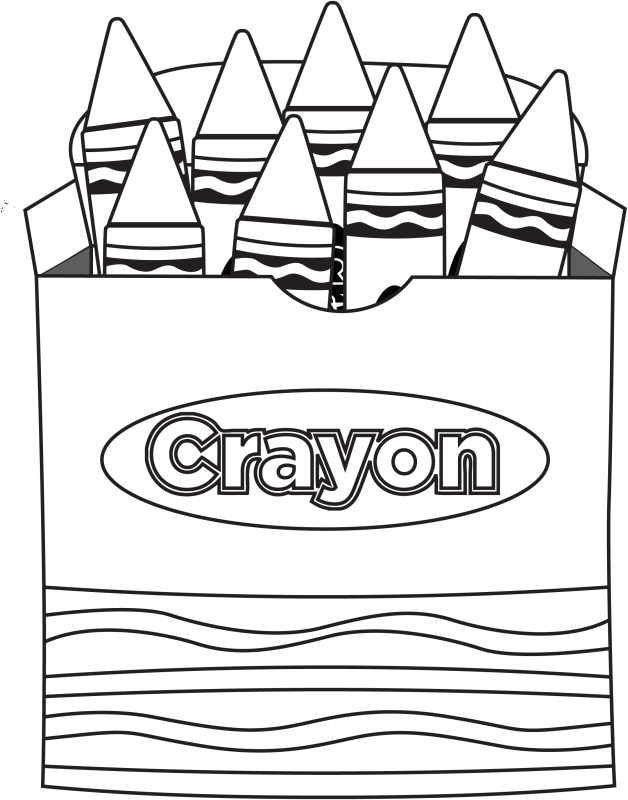 Crayon clipart outline. Box black and white