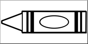Clip art b w. Crayon clipart outline