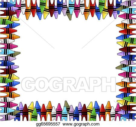 Crayons clipart picture frame. Vector illustration