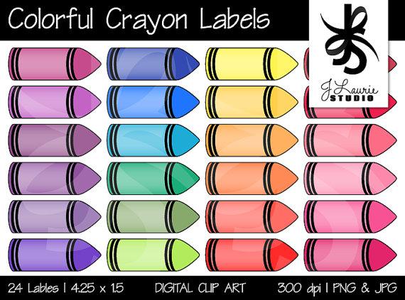 Digital colorful labels printable. Label clipart crayon