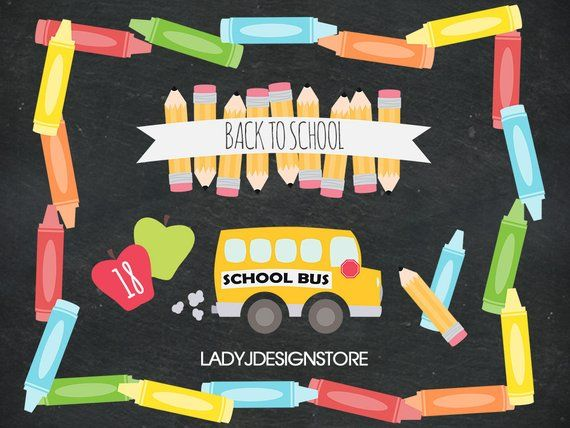 Back to clip art. Crayon clipart school day