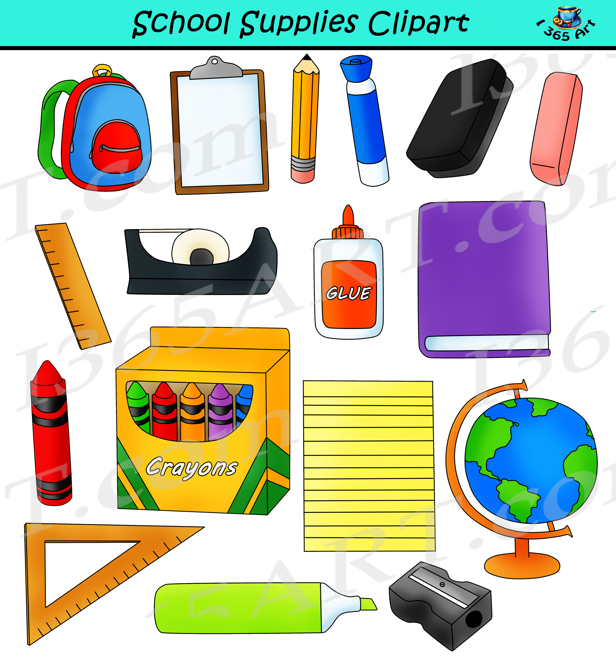 Crayon clipart school item. Supplies back to commercial