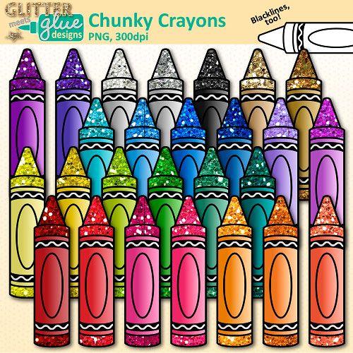 Crayon clipart suply. Chunky clip art school
