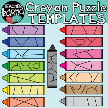 Crayon clipart thick. Puzzle templates make your