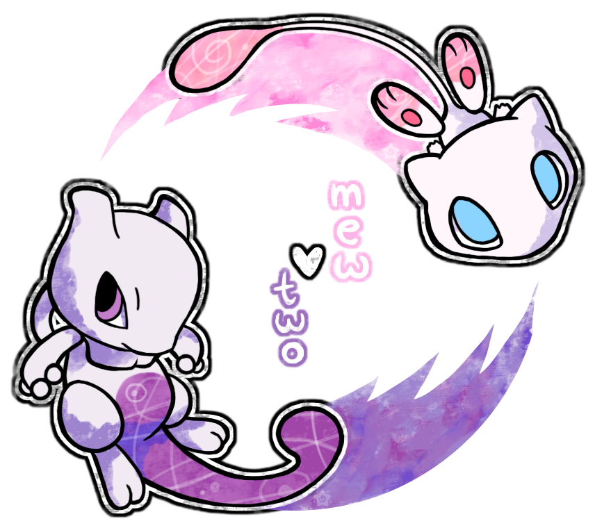 Crayon clipart violet. Mew two by chewer