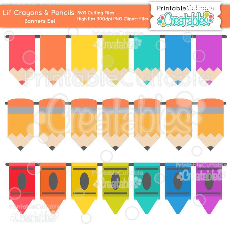 Crayons clipart banner. Lil n pencils borders