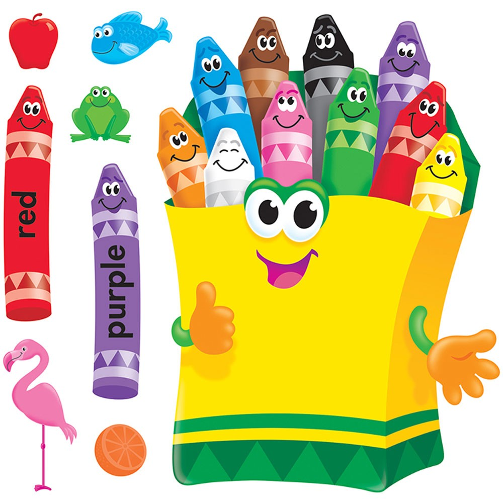 Colorful bulletin board set. Crayons clipart classroom