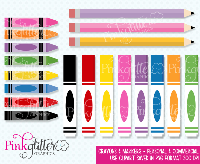 Crayons instant download . Markers clipart cute