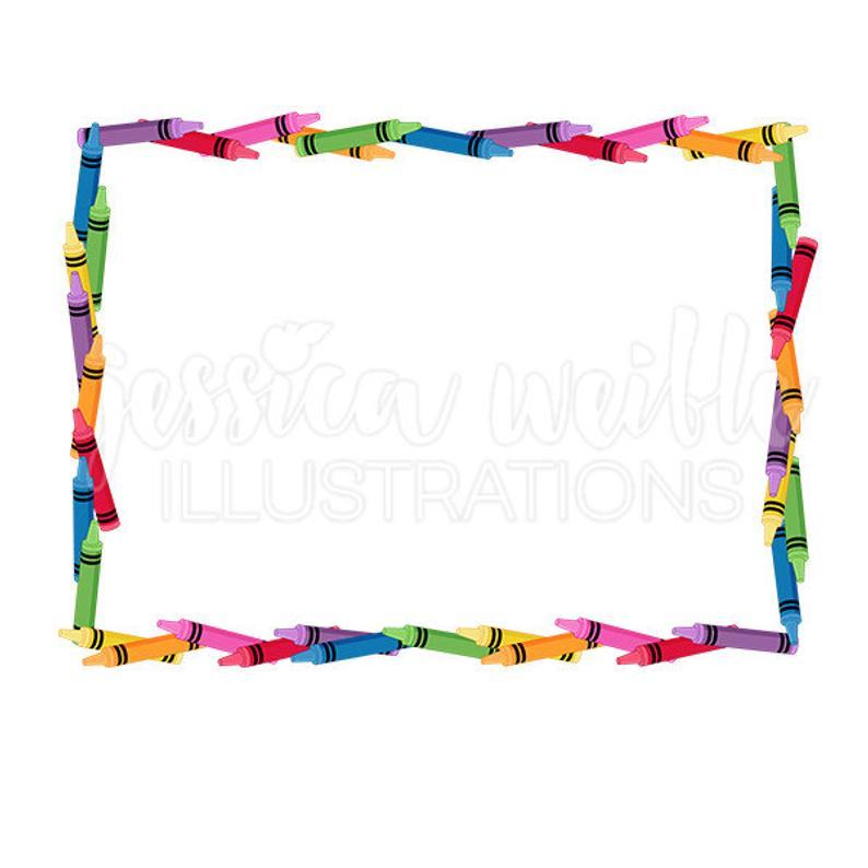 Crayon clip art cute. Crayons clipart picture frame