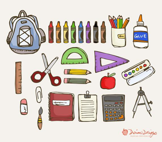 Crayons clipart scissors. School supplies commercial use