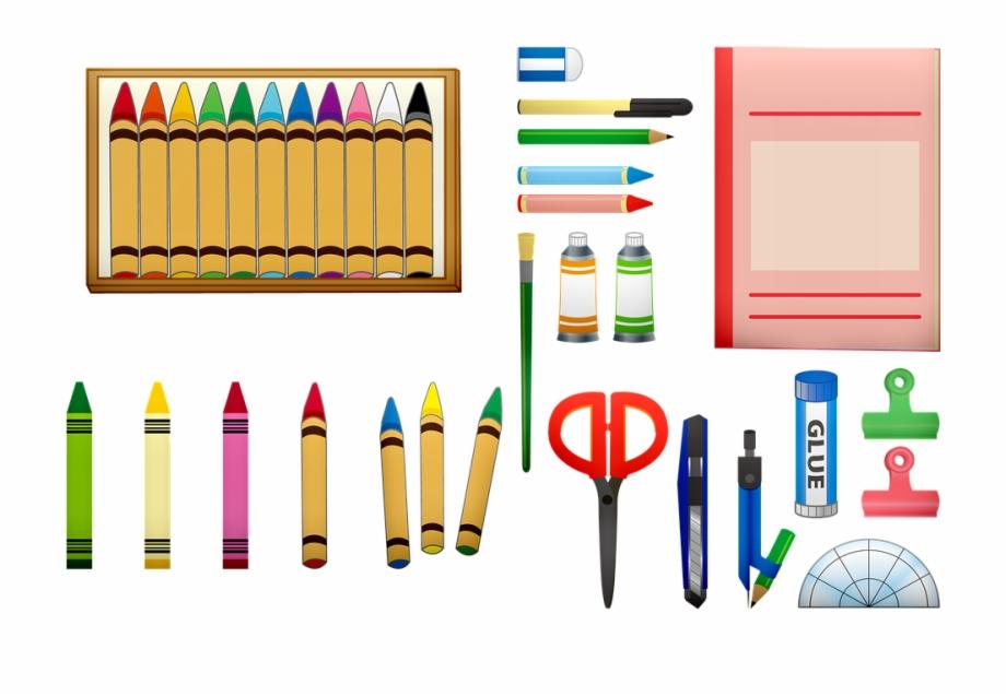 School supplies color utiles. Crayons clipart scissors