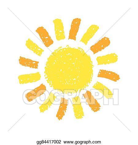 Eps vector hand drawn. Crayons clipart sun