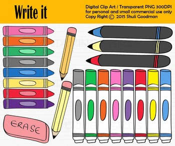 Markers clipart crayon. Writing tools clip art