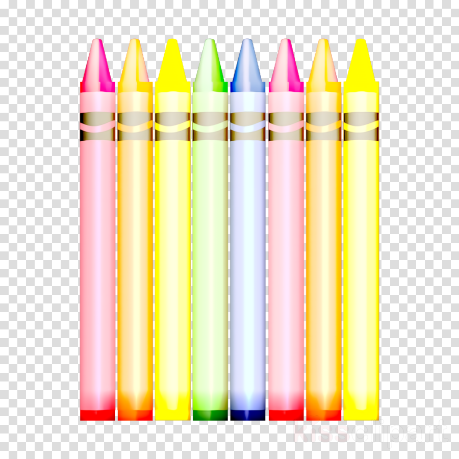 Crayons clipart writing. Colors icon implement