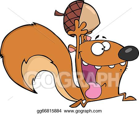 Vector squirrel with acorn. Crazy clipart