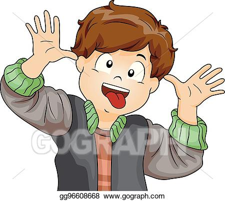 Vector kid making face. Crazy clipart crazy boy
