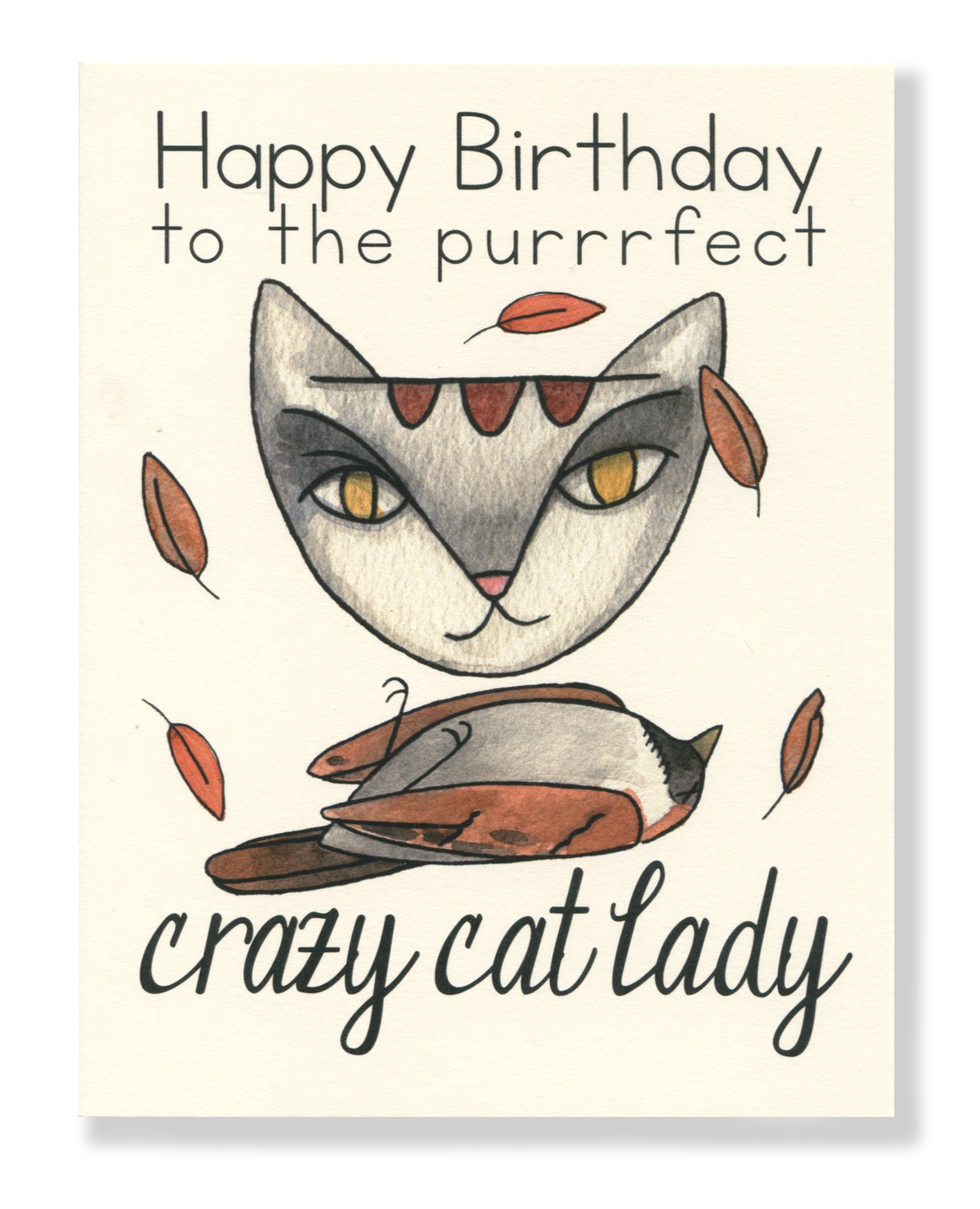 Happy birthday cat card. Crazy clipart crazy lady