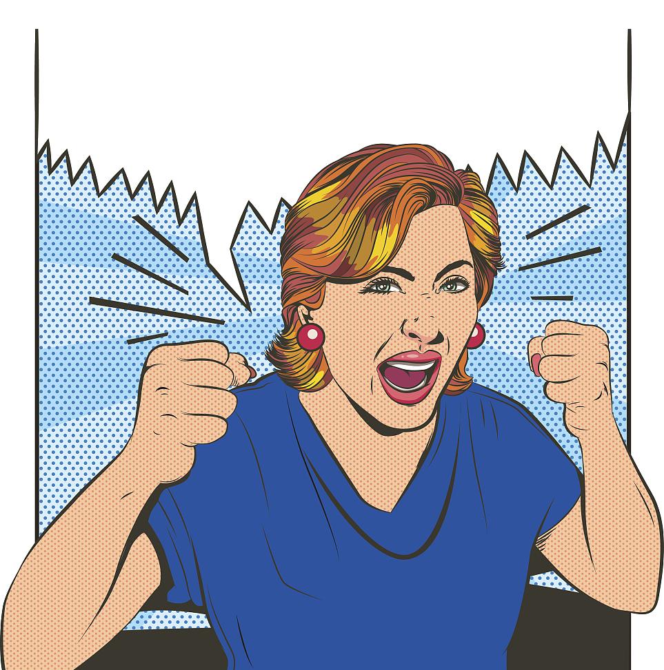 Crazy clipart crazy lady. Screaming cartoon illustration furious