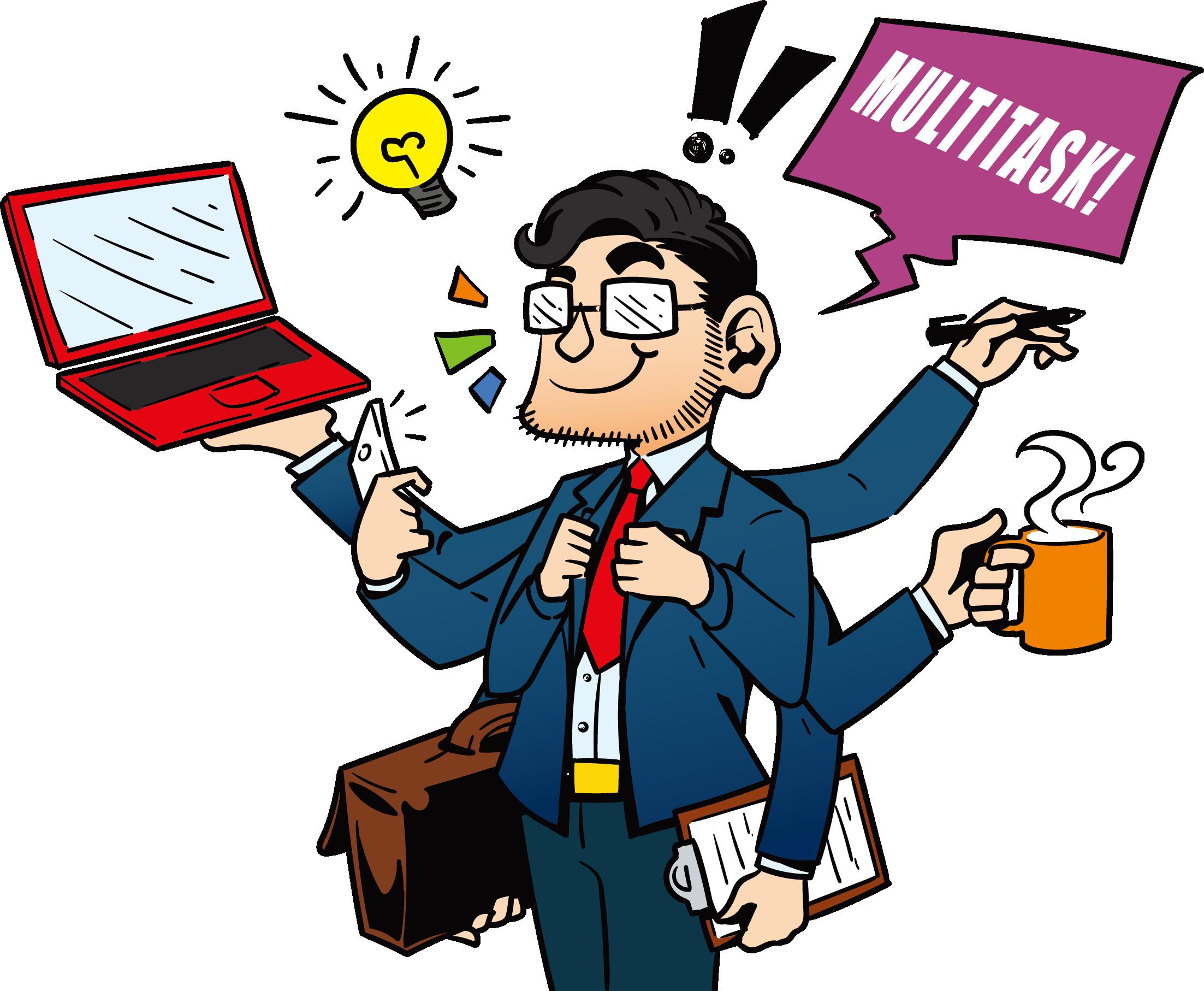 Working clipart laborer. Human multitasking illustration dealing