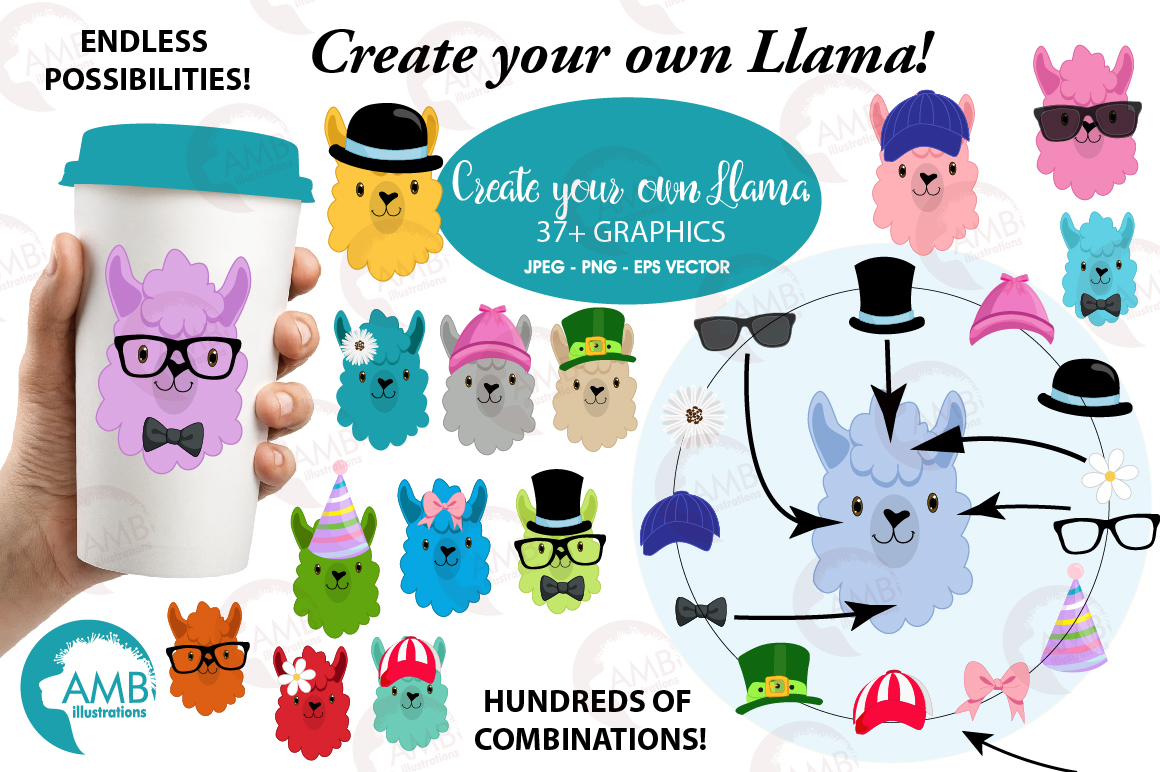 Llama heads in colors. Create clipart